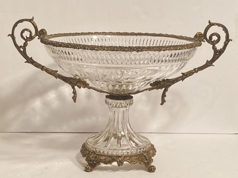 Vintage Hollywood Regency Gilt Bronze/Brass & Glass Compote Centerpiece