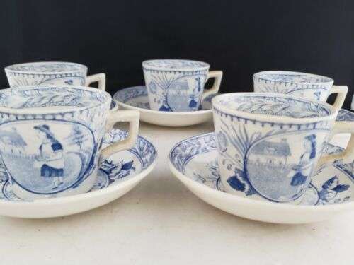 Staffordshire Blue White set of 5  Demitasse Tea Cup &  Saucer England antique