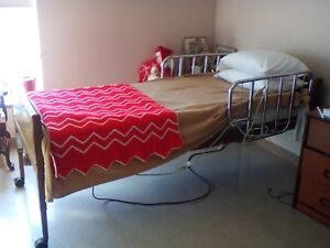 Electric  Hospital-Style Bed with  Mattress and Remote Control