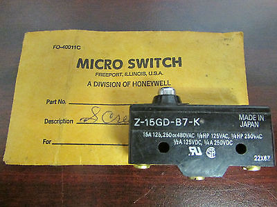 Honeywell Micro Switch Z 15gd B7 K 15 Amp 125 250 480 Vac