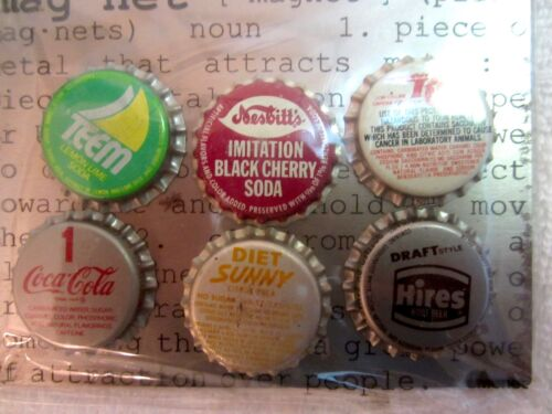 6 Fridge Soda Pop Cap Magnets Hires Teem RC Coca Cola NIP Stocking Stuffer Vtg