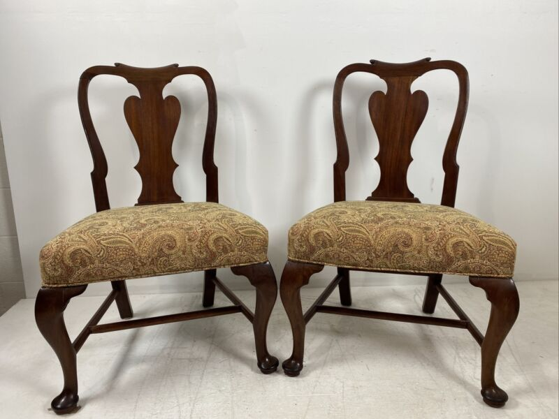 A Pair Of English 18th Century Queen Anne Mahogany Side Chairs, circa 1760's