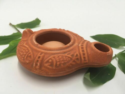 HERODIAN Hanukkah Holy Land OIL LAMP Biblical Antique Replica Clay gift Judaica