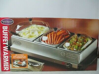 Nostalgia Electrics Buffet Cooker Food Warmer 3 Station Server Stainless Steel for sale  Shipping to India