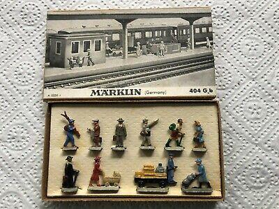 Märklin Eisenbahnfiguren Set BAHNHOFSREISENDE 404 G b von 1950 komplett, TOP!