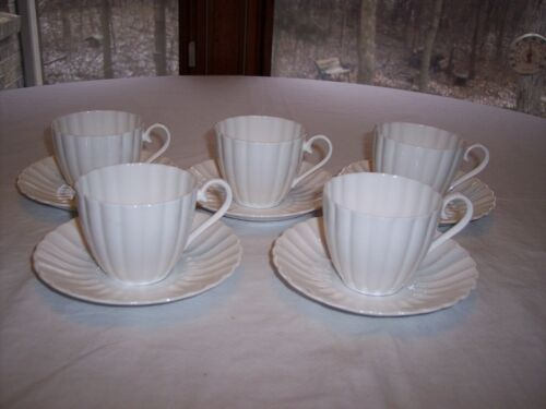 Lot of 5 Susie Cooper England White Flute Bone China Cups & Saucers
