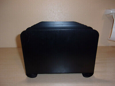 Vintage Black Office Metal File Organizer Paper Tray Heavy Duty Vertical Retro