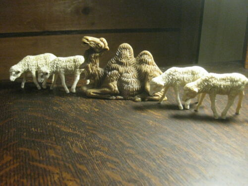 Lot of 5 Vtg Plastic ITALY Christmas Nativity Animals 4 - Sheep Lambs & 1 -Camel