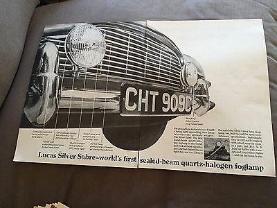 "VINTAGE 1960s ""LUCAS SILVER SABLE FOGLAMPS"" TWO-PAGE ORIGINAL ADVERT"