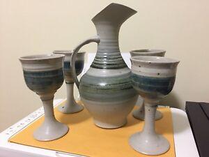 Wine goblets and jug