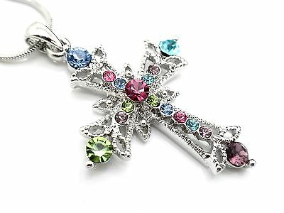 w Austrian Crystal Cross Multi Colored Pendant Women Necklace NEW