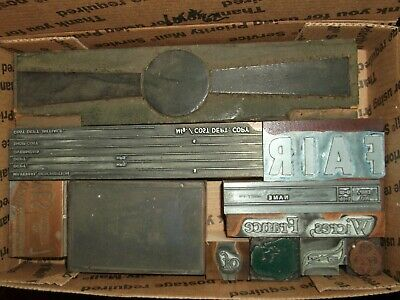 No.62 Lot Of 11 Vintage Cuts Printing Block Letterpress Lead Copper Zinc Antique