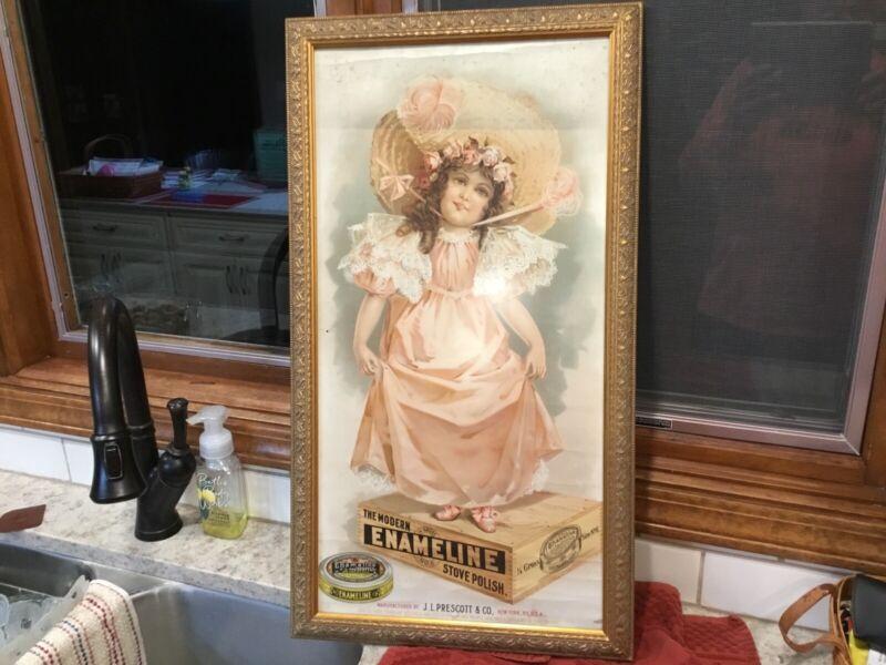 Vintage Advertising Sign Enameline Stove Polish Victorian