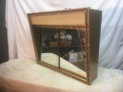 Vintage Mid Centry Retro Bathroom Medicince lighted Cabinet with slinding Mirror