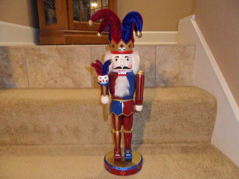"VINTAGE HANDMADE NUTCRACKER - 16"" - THE JESTER Christmas Decor"