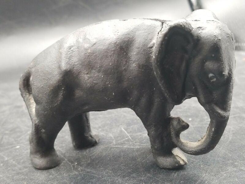 Vintage Still Bank Elephant Cast Iron Stillbank Tucked Trunk
