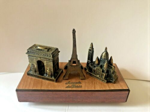 Vintage Paris France Souvenir Brass Eiffel Tower Notre Dame and  Arc Music Box