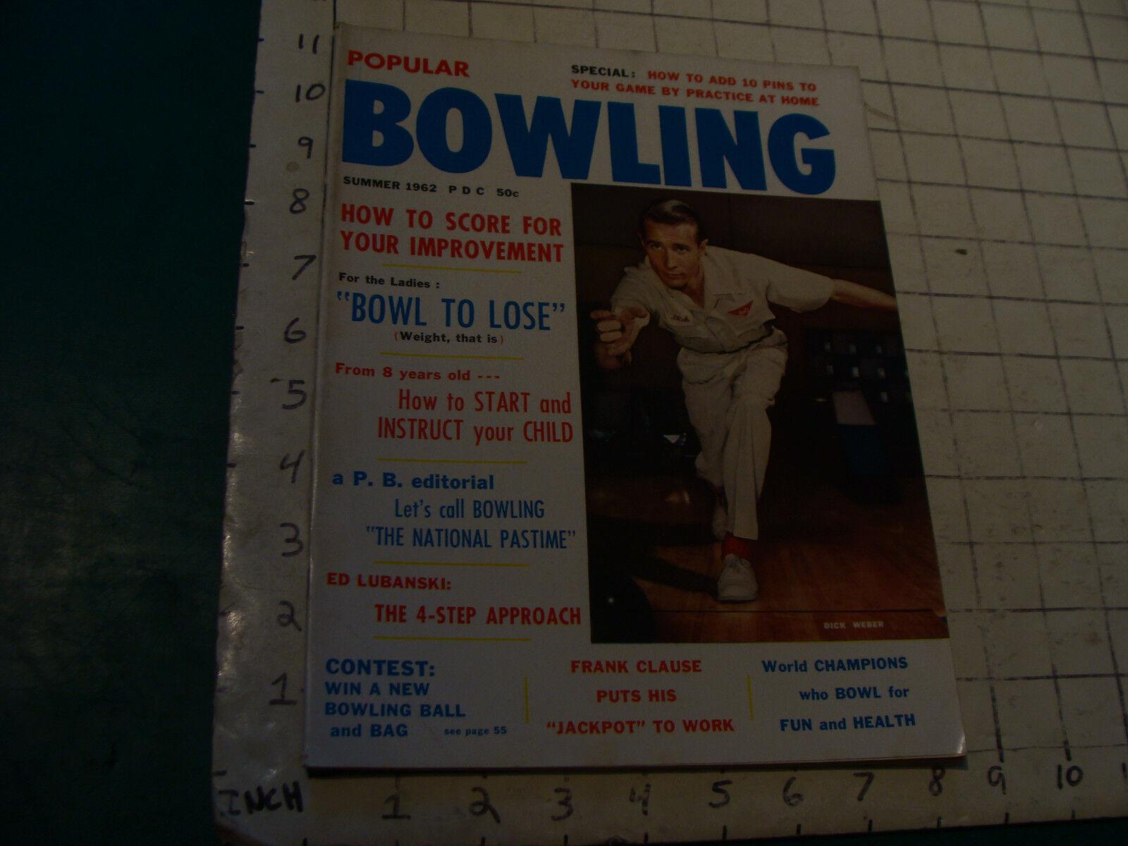 Vintage Magazine: Popular Bowling 1962 Summer: Dick Weber Cover, Ed Lubanski