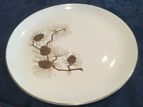 Vintage Paden City Pottery - Eden Roc China - Pine Cone Pattern Dinner Plate 10""