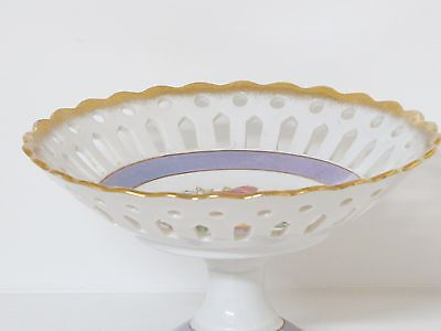 Norleans Porcelain Pedestal Fruit Bowl Purple Luster Bands/Pierced & Gold Gilt