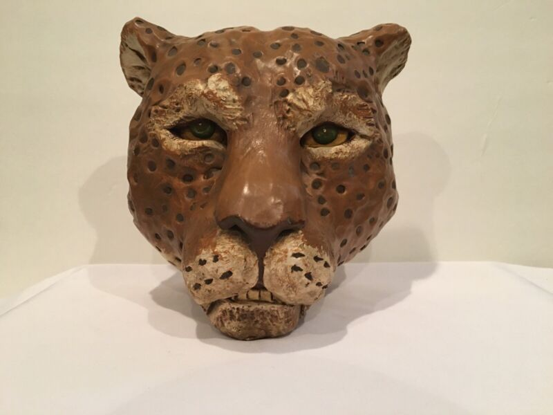 Vtg 1976 Deco Big Cat Exotic Cat Preferred Plastercraft Plaster Cheetah Head