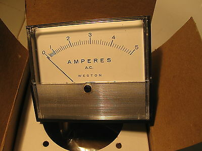 Weston Panel Meter Pioneer 0-5 Aca 2034 25-500hz 3 X 3.5