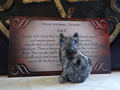 *CAT* Carved Stone Figurine Totem Buy 3 Get 1 FREE Wiccan Pagan Familiar