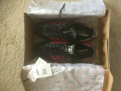 ADIDAS ORIGINALS KEGLER SUPER TRAINERS SIZE 11 BLACK LEATHER / DARK RED STRIPES