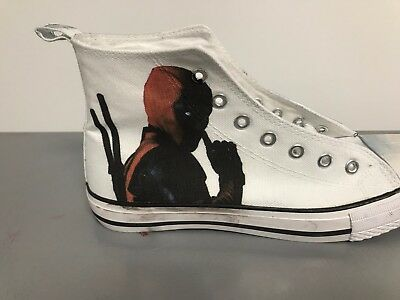 Deadpool Adult Custom Converse Shoes Character Personalised White - Converse Personalised