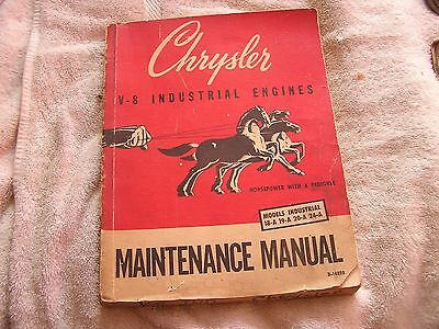 Chrysler V-8 Industrial Engines Maintenance Manual Models 18a 19a 20a 24a