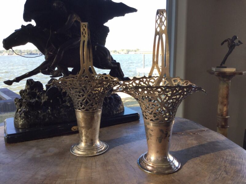 Pair (2) Silver Plated Knickerbocker Silver Co Flower Vases Circa 1894