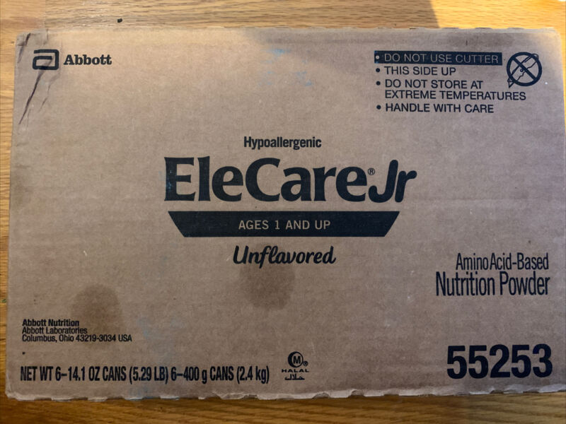 EleCare Jr Unflavored Powdered Formula 2 Cases / 12 Cans FREE SHIPPING