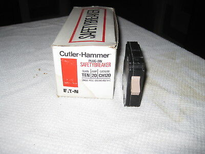 Ch120 Cutler Hammer Type Ch Circuit Breaker 1 Pole 20 Amp 120240v Metal Foot