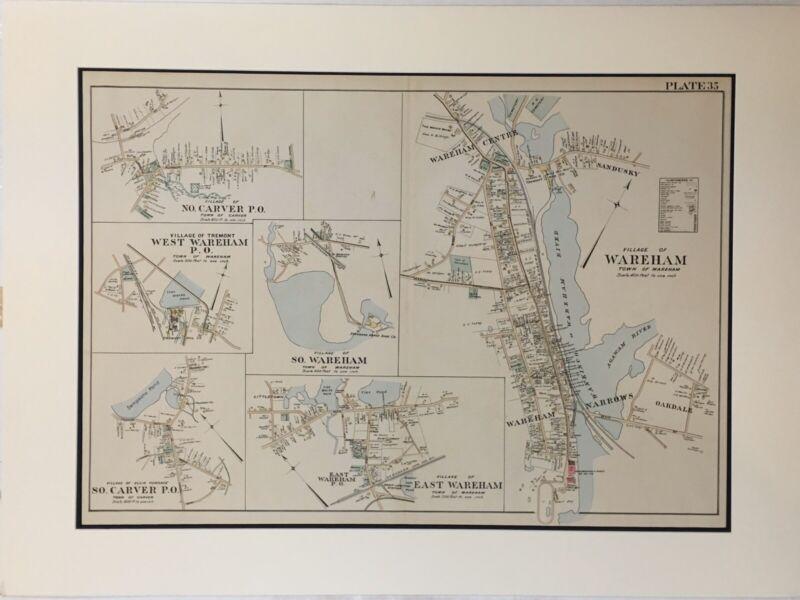Original 1903 Map Village of Wareham,Carver,Ma,Mass Antique,Old