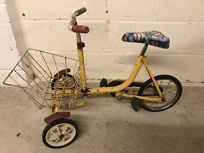 Unique Yellow Tricycle with Integrated Basket