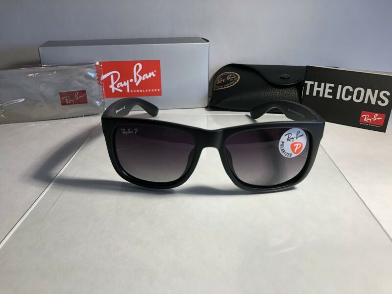 Ray-Ban RB4165 55mm Justin New Wayfarer Sunglasses (Black/Polarized Gray)