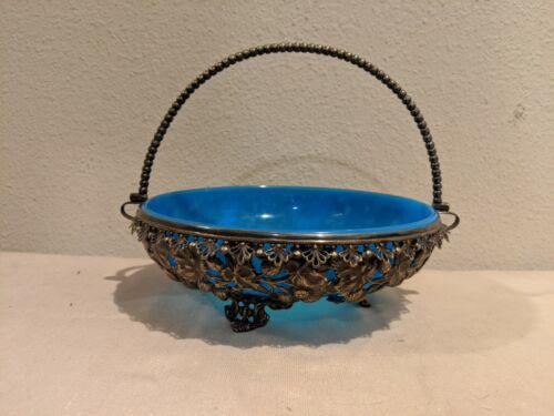 "bride basket Blue glass w Silver Plated wedding  approx 8""H × 10.5""L Vintage"