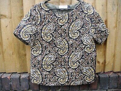 J W Anderson Topshop Silk Quilted Padded Paisley Top Size UK 8