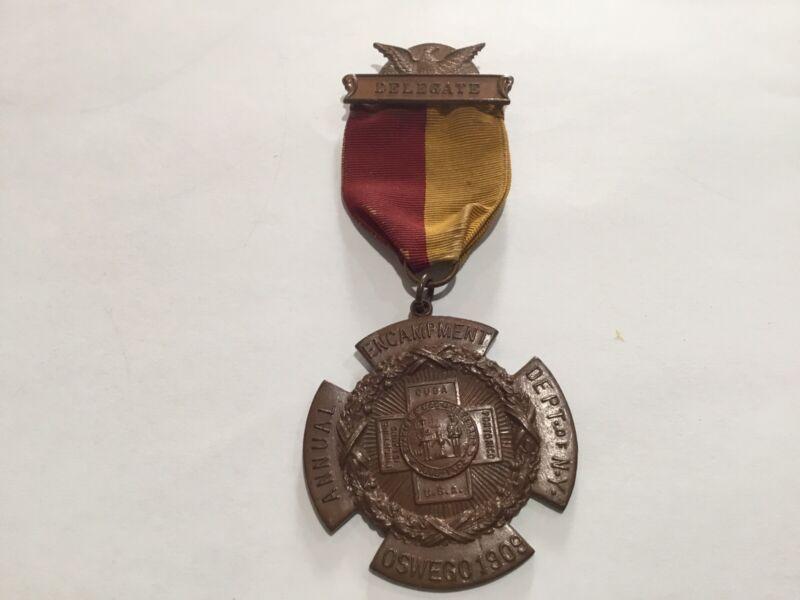 Spanish American War Veterans Medal DELEGATE ENCAMPMENT OSWEGO 1909 NEW YORK NY