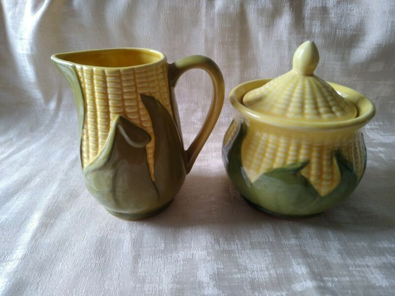 Shawnee Pottery Corn Creamer #70 and Sugar with Lid #78
