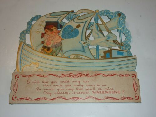 Vintage Valentines Card Sail Boat Folds Out Layered Pirate Ship Large 1950s?