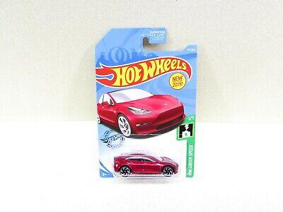 Hot Wheels Tesla Model 3 Red Car NIP HW Green Speed P Case 2017 Malaysia