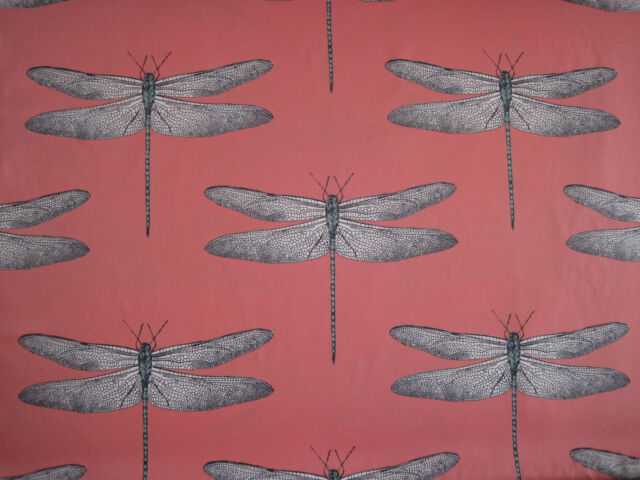 "HARLEQUIN CURTAIN FABRIC ""Demoiselle 3.50 METRES CORAL AND MINT DRAGONFLY DESIGN"