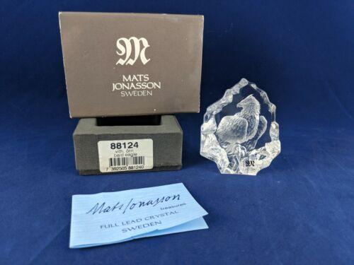 MATS JONASSON Sweden Crystal American Bald Eagle Sculpture Paper Weight Signed