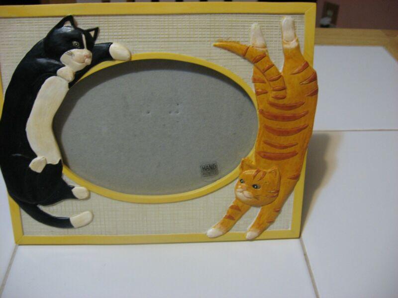 """Figi ceramic photo frame 6"""" X 8"""" tux cat & orange cat Excellent!"""