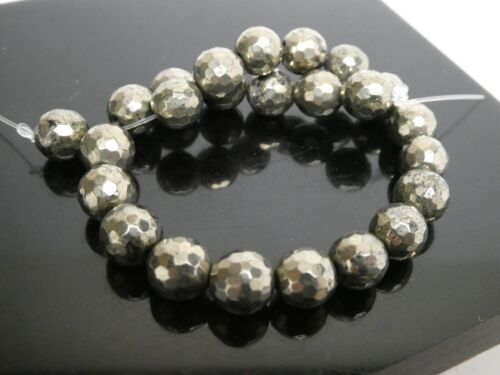 """Natural Faceted Golden Iron Pyrite Gemstone 8mm Round Loose Beads Strand 8"""""""