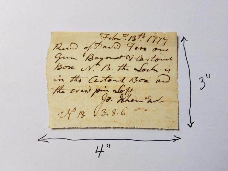 Revolutionary War Receipt for one Gun Bayonet & Cartouch Box 13 February 1777
