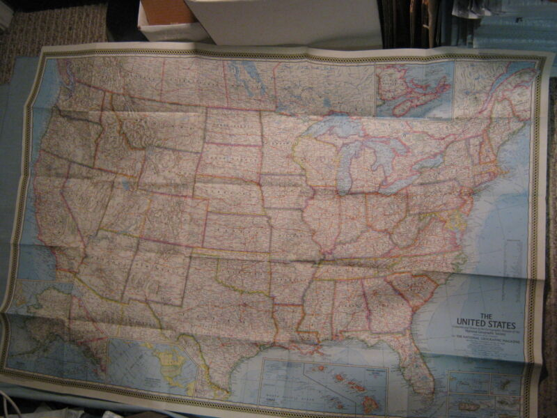 HUGE VINTAGE THE UNITED STATES MAP National Geographic February 1968