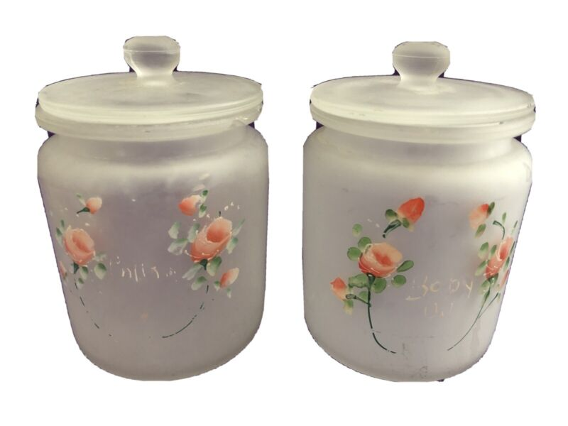 NURSERY Frosted Glass Apothecary Jars w/ Lid Vanity Set of 2 Vintage