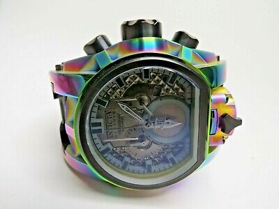 Invicta Reserve Bolt Zeus Magnum Watch 25609 Dual Time Chronograph Rainbow Metal